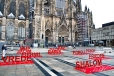 Cologne Cathedral square peace signs